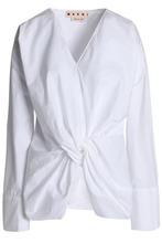 Marni | Marni Woman Knotted Cotton-poplin Top White Size 44 | Clouty