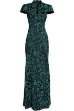 Zac Posen   Zac Posen Woman Floral-jacquard Gown Midnight Blue Size 6   Clouty