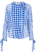 Diane Von Furstenberg | Diane Von Furstenberg Woman Gingham Silk-voile Wrap Top Blue Size 12 | Clouty
