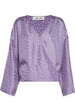 Diane Von Furstenberg | Diane Von Furstenberg Woman Wrap-effect Printed Silk-satin Blouse Violet Size XS | Clouty