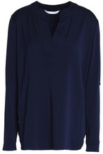 Diane Von Furstenberg | Diane Von Furstenberg Woman Woven Top Midnight Blue Size 4 | Clouty