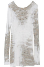 Enza Costa | Enza Costa Woman Tie-dye Ribbed Stretch-jersey Top Light Gray Size L | Clouty