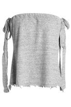 Rta   Rta Woman Distressed Melange Cotton-blend Jersey Top Gray Size L   Clouty