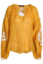 March 11 | March11 Woman Gathered Embroidered Linen Tunic Saffron Size M | Clouty