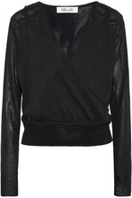 Diane Von Furstenberg | Diane Von Furstenberg Woman Wrap-effect Metallic Knitted Top Black Size M | Clouty