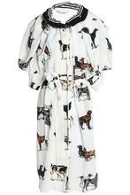 Stella McCartney | Stella Mccartney Woman Gathered Printed Crepe Dress White Size 44 | Clouty