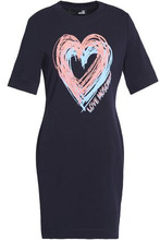 Love Moschino | Love Moschino Woman Printed Stretch-cotton Mini Dress Navy Size 44 | Clouty