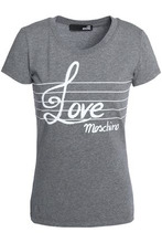 Love Moschino | Love Moschino Woman Printed Stretch-cotton T-shirt Gray Size 46 | Clouty