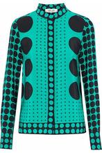 Diane Von Furstenberg | Diane Von Furstenberg Woman Printed Silk Shirt Jade Size 10 | Clouty
