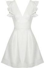 Marchesa Notte | Marchesa Notte Woman Satin-appliqued Tulle Mini Dress Ivory Size 12 | Clouty