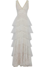 Marchesa Notte | Marchesa Notte Woman Tiered Chantilly Lace And Point D'esprit Gown Ivory Size 10 | Clouty
