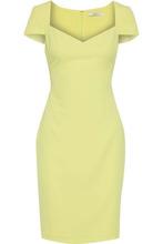 Badgley Mischka   Badgley Mischka Woman Crepe Mini Dress Chartreuse Size 0   Clouty
