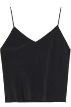Alice + Olivia | Alice + Olivia Woman Lauren Washed-silk Camisole Black Size L | Clouty
