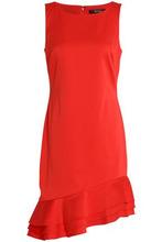 Badgley Mischka   Badgley Mischka Woman Asymmetric Ruffle-trimmed Cady Dress Red Size 6   Clouty