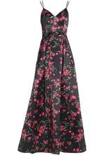Alice + Olivia   Alice + Olivia Woman Marilla Floral-print Duchesse Satin Gown Black Size 10   Clouty