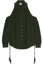 Haute Hippie | Haute Hippie Woman Cold-shoulder Cotton And Linen-blend Shirt Dark Green Size S | Clouty