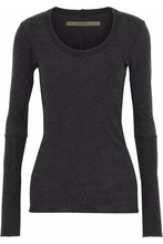 Enza Costa | Enza Costa Woman Melange Cotton And Cashmere-blend Top Anthracite Size S | Clouty