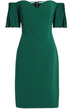 Badgley Mischka   Badgley Mischka Woman Off-the-shoulder Fluted Crepe Dress Emerald Size 4   Clouty