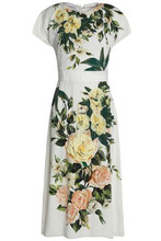 Dolce & Gabbana   Dolce & Gabbana Woman Appliqued Floral-print Silk-blend Midi Dress White Size 38   Clouty
