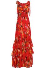Dolce & Gabbana | Dolce & Gabbana Woman Tiered Floral-print Silk-chiffon Gown Tomato Red Size 36 | Clouty