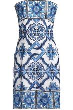 Dolce & Gabbana | Dolce & Gabbana Woman Strapless Embroidered Mesh Mini Dress Azure Size 38 | Clouty