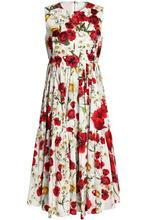 Dolce & Gabbana   Dolce & Gabbana Woman Appliqued Floral-print Cotton-twill Midi Dress White Size 36   Clouty