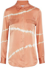 Equipment   Equipment Woman Slim Signature Tie-dyed Washed-silk Shirt Coral Size M   Clouty