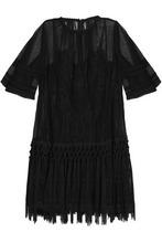 Dolce & Gabbana | Dolce & Gabbana Woman Crochet-trimmed Tasseled Mesh Dress Black Size 40 | Clouty