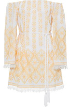 Miguelina | Miguelina Woman Brinley Off-the-shoulder Embroidered Cotton Coverup Marigold Size M | Clouty