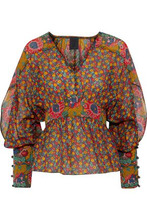 Anna Sui | Anna Sui Woman Floral-print Cotton And Silk-blend Blouse Multicolor Size L | Clouty
