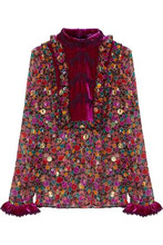Anna Sui | Anna Sui Woman Velvet-paneled Fil Coupe Printed Silk-blend Georgette Blouse Magenta Size 4 | Clouty