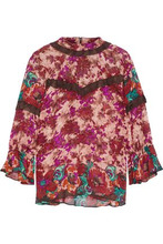 Anna Sui | Anna Sui Woman Ruffle-trimmed Floral-print Silk-georgette Blouse Multicolor Size 10 | Clouty