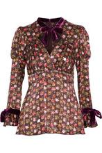 Anna Sui | Anna Sui Woman Velvet-trimmed Floral-print Silk Blouse Multicolor Size 10 | Clouty