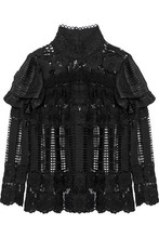 Anna Sui | Anna Sui Woman Metallic Chiffon-paneled Ruffled Guipure Lace Top Black Size 12 | Clouty