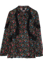 Anna Sui | Anna Sui Woman Ruffled Lace-trimmed Printed Silk-chiffon Blouse Black Size M | Clouty
