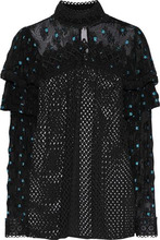 Anna Sui | Anna Sui Woman Embroidered Tulle-paneled Open-knit Blouse Black Size 10 | Clouty