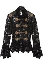 Reem Acra | Reem Acra Woman Embellished Guipure Lace Peplum Top Black Size 4 | Clouty