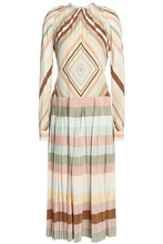 VALENTINO | Valentino Woman Pleated Printed Silk Midi Dress Sage Green Size 42 | Clouty