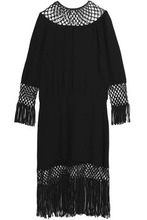 VALENTINO | Valentino Woman Fringe-trimmed Open Knit-paneled Silk Midi Dress Black Size 38 | Clouty