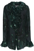 Anna Sui | Anna Sui Woman Ruffle-trimmed Metallic Silk-blend Fil Coupe Shirt Forest Green Size 2 | Clouty