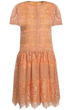 VALENTINO | Valentino Woman Metallic Cotton-blend Corded Lace Mini Dress Orange Size 44 | Clouty
