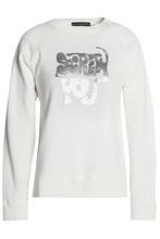 ALEXACHUNG | Alexa Chung Woman Metallic Printed Cotton-jersey Sweatshirt Ivory Size M | Clouty