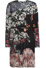VALENTINO | Valentino Woman Lace-paneled Pleated Floral-print Silk Crepe De Chine Mini Dress Black Size 40 | Clouty