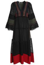 VALENTINO | Valentino Woman Paneled Silk Midi Dress Black Size S | Clouty