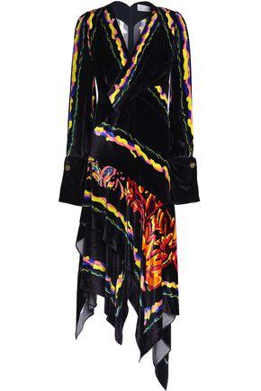 Free Shipping Browse Free Shipping Cheap Peter Pilotto Woman Asymmetric Wrap-effect Printed Velvet Dress Dark Purple Size 14 Peter Pilotto Ca1534Hk