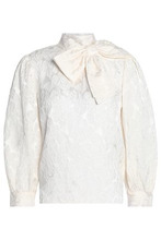 Alice + Olivia | Alice+olivia Woman Bow-embellished Silk-blend Jacquard Blouse Ivory Size XS | Clouty
