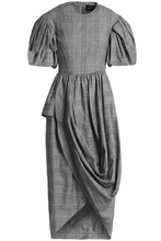 Simone Rocha Woman Wrap-effect Checked Cotton-blend Dress Gray Size 6 Simone Rocha Buy Cheap Footlocker Pictures xyigl
