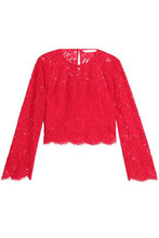 Diane Von Furstenberg | Diane Von Furstenberg Woman Corded Lace Top Red Size 10 | Clouty