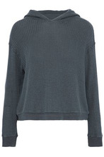 Monrow | Monrow Woman Waffle-knit Hooded Top Charcoal Size L | Clouty
