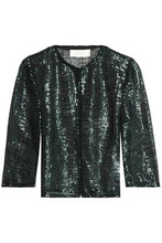 Goat | Goat Woman Sequined Open-knit Jacket Emerald Size 14 | Clouty
